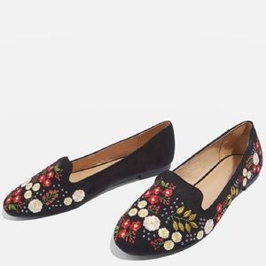Topshop Sugar Embroidered flats